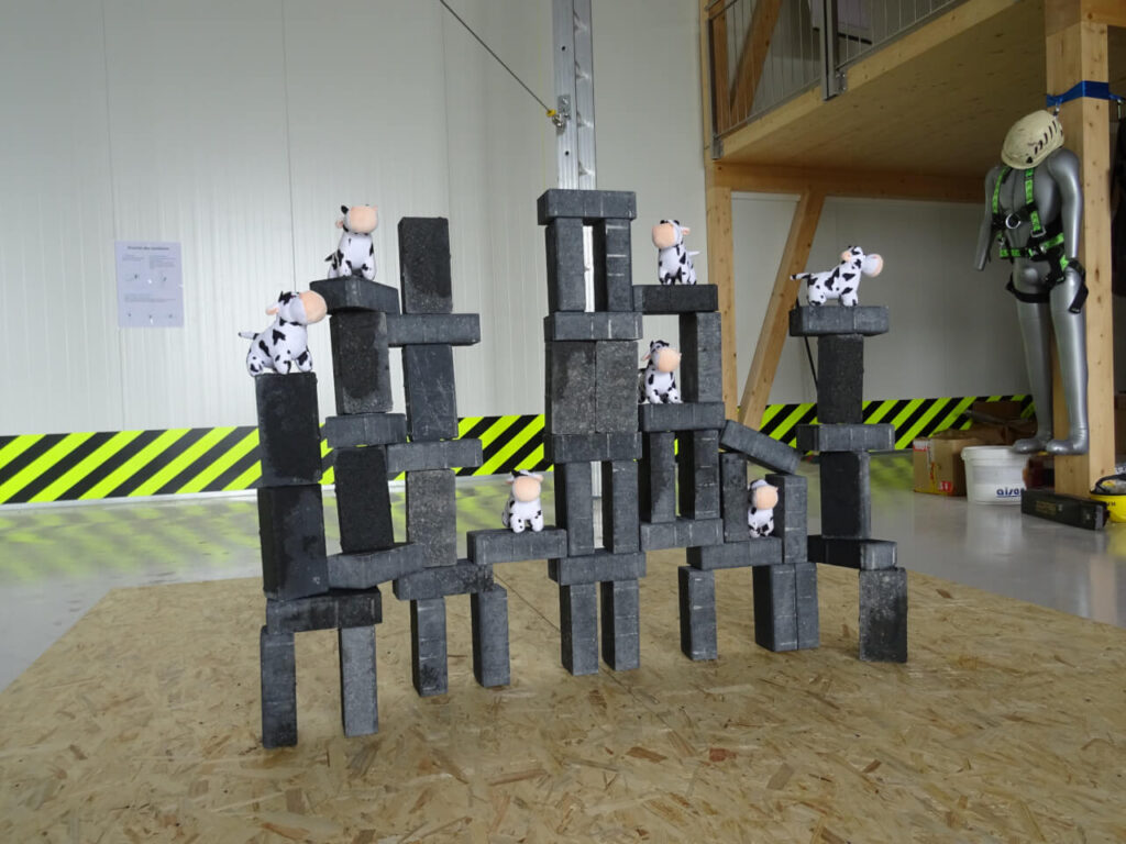 Team building insolite - catapulte angry birds briques